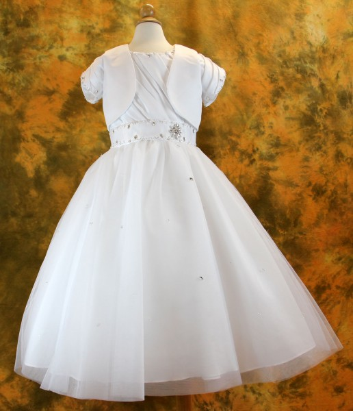 First Communion Dress with Pleated Bodice and Rhinestone, Size 7 - White
