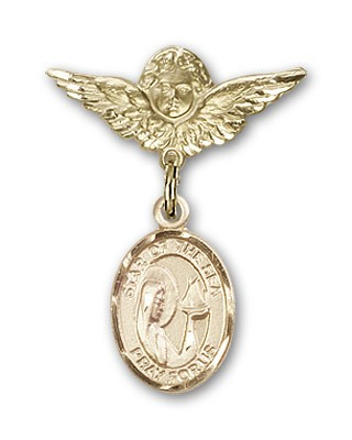 Pin Badge with Our Lady Star of the Sea Charm and Angel with Smaller Wings Badge Pin - 14K Yellow Gold
