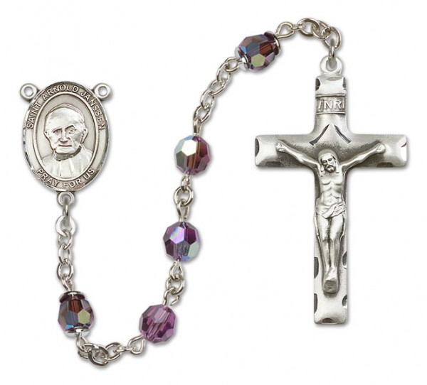 St. Arnold Janssen Sterling Silver Heirloom Rosary Squared Crucifix - Amethyst
