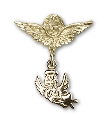 Baby Pin with Guardian Angel Charm and Angel with Smaller Wings Badge Pin - 14K Solid Gold