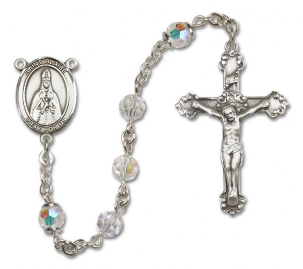 St. Blaise Sterling Silver Heirloom Rosary Fancy Crucifix - Crystal