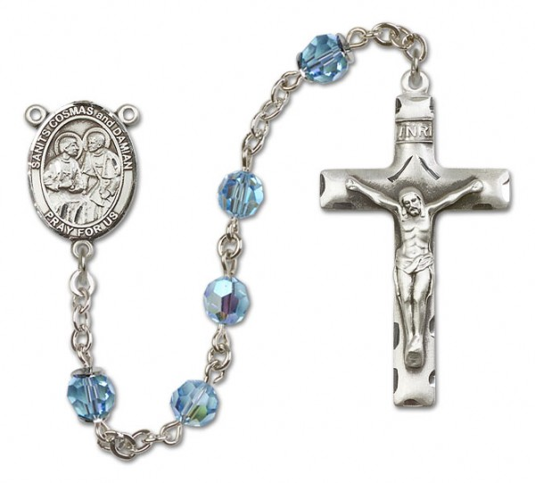 Saints Cosmas and Damian Sterling Silver Heirloom Rosary Squared Crucifix - Aqua