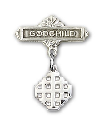 Baby Badge with Jerusalem Cross Charm and Godchild Badge Pin - Silver tone
