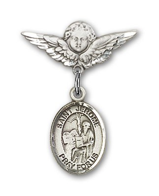 Pin Badge with St. Jerome Charm and Angel with Smaller Wings Badge Pin - Silver tone