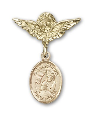 Pin Badge with St. Edwin Charm and Angel with Smaller Wings Badge Pin - 14K Yellow Gold