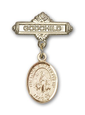 Baby Badge with Lord Is My Shepherd Charm and Godchild Badge Pin - 14K Yellow Gold