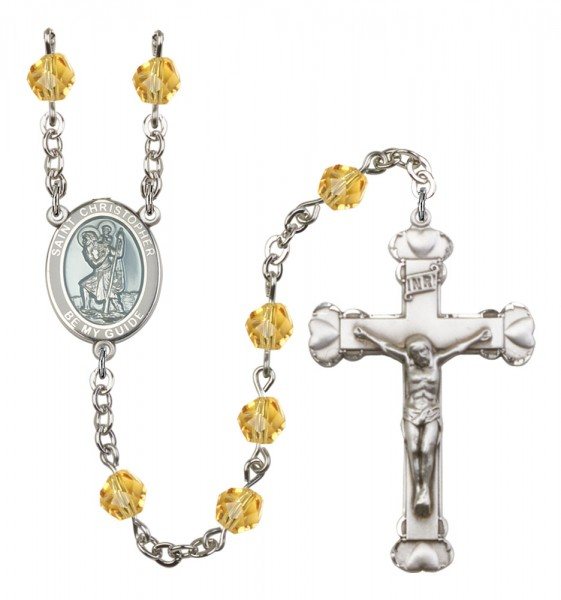 Women's St. Christopher Birthstone Rosary - Topaz