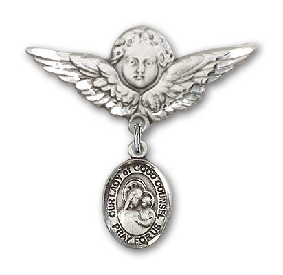 Pin Badge with Our Lady of Good Counsel Charm and Angel with Larger Wings Badge Pin - Silver tone