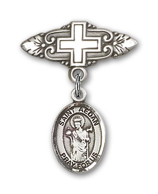 Pin Badge with St. Aedan of Ferns Charm and Badge Pin with Cross - Silver tone