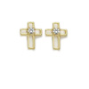 Cross Shaped Earrings with Crystal Center - Gold