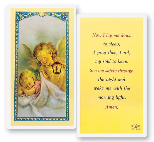 Now I Lay Me Down To Sleep Laminated Prayer Cards 25 Pack - Full Color