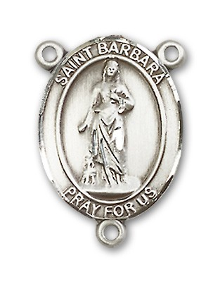St. Barbara Rosary Centerpiece Sterling Silver or Pewter - Sterling Silver