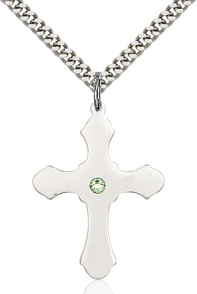 Large High Polished Soft Edge Cross Pendant with Birthstone Options - Peridot