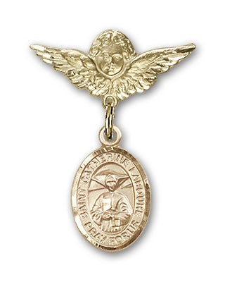 Pin Badge with St. Catherine Laboure Charm and Angel with Smaller Wings Badge Pin - 14K Yellow Gold