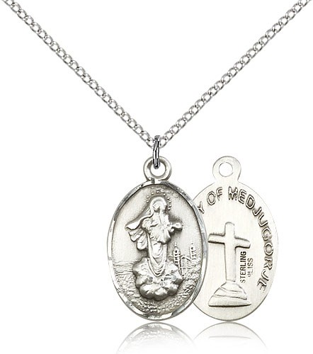 Our Lady of Medjugorje Medal - Sterling Silver