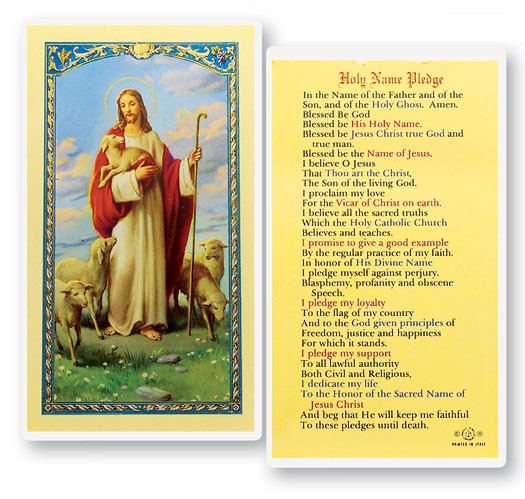 Holy Name Pledge Laminated Prayer Cards 25 Pack - Full Color