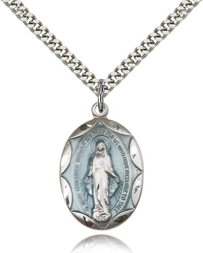 Large Blue Enamel Miraculous Medal Necklace - Silver | Blue