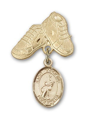 Pin Badge with St. Tarcisius Charm and Baby Boots Pin - Gold Tone