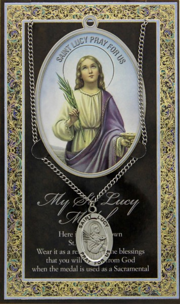 St. Lucy Medal in Pewter with Bi-Fold Prayer Card - Silver tone