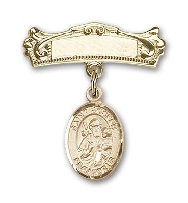 Pin Badge with St. Joseph Charm and Arched Polished Engravable Badge Pin - 14K Yellow Gold