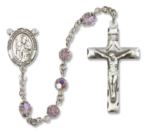 St. Joseph of Arimathea Sterling Silver Heirloom Rosary Squared Crucifix - Light Amethyst