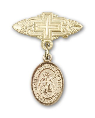 Pin Badge with St. John the Baptist Charm and Badge Pin with Cross - Gold Tone