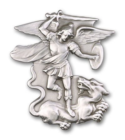 St. Michael the Archangel Visor Clip - Antique Silver