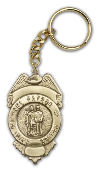 St. Michael Patron of Police Key Chain - Antique Gold