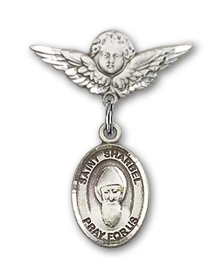Pin Badge with St. Sharbel Charm and Angel with Smaller Wings Badge Pin - Silver tone