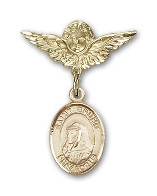 Pin Badge with St. Bruno Charm and Angel with Smaller Wings Badge Pin - 14K Solid Gold
