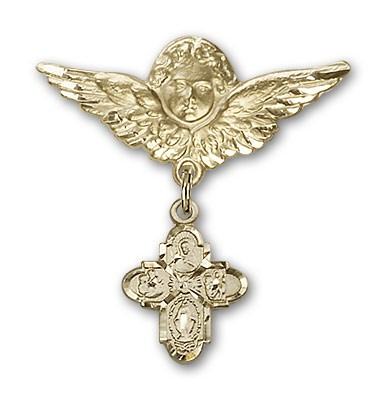 Pin Badge with 4-Way Charm and Angel with Larger Wings Badge Pin - 14K Yellow Gold