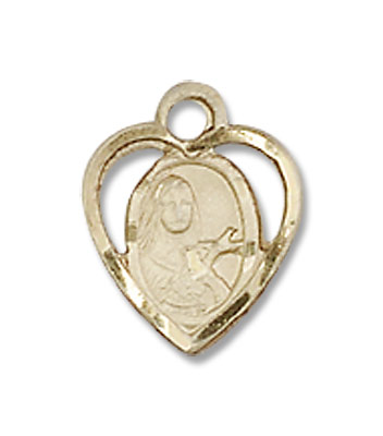 Petite St. Theresa Heart Shaped Necklace - 14K Yellow Gold