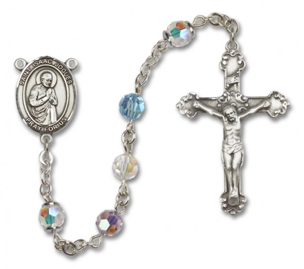 St. Isaac Jogues Sterling Silver Heirloom Rosary Fancy Crucifix - Multi-Color