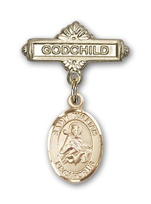 Pin Badge with St. William of Rochester Charm and Godchild Badge Pin - 14K Solid Gold