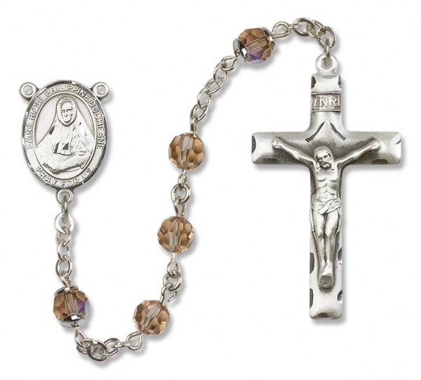 St. Rose Philippine Sterling Silver Heirloom Rosary Squared Crucifix - Topaz