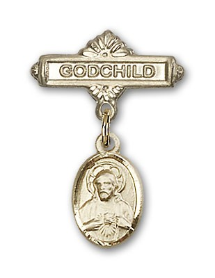 Baby Pin with Scapular Charm and Godchild Badge Pin - Gold Tone