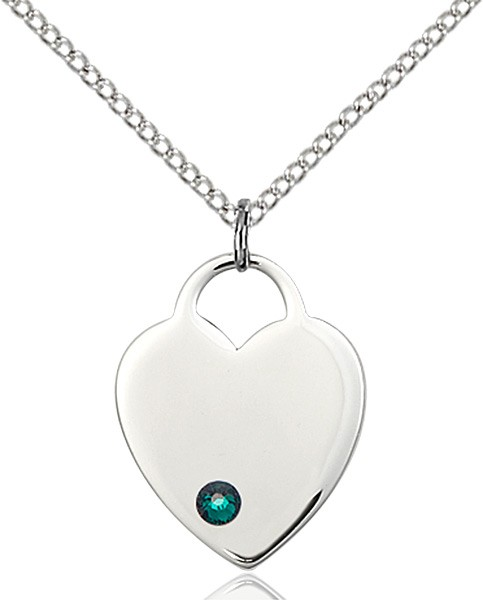 Medium Heart Shaped Pendant with Birthstone Options - Emerald Green