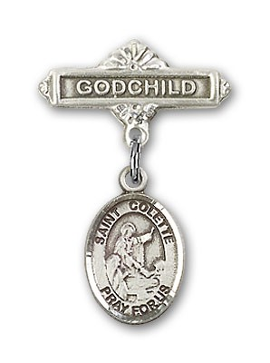 Pin Badge with St. Colette Charm and Godchild Badge Pin - Silver tone