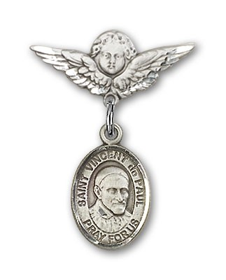 Pin Badge with St. Vincent de Paul Charm and Angel with Smaller Wings Badge Pin - Silver tone