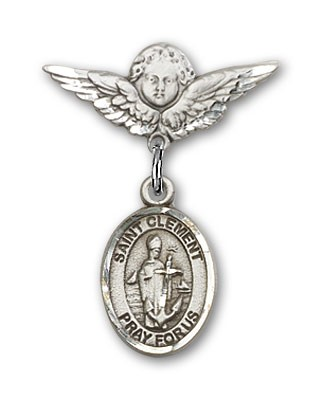 Pin Badge with St. Clement Charm and Angel with Smaller Wings Badge Pin - Silver tone