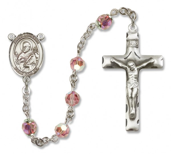 St. Meinrad of Einsideln Sterling Silver Heirloom Rosary Squared Crucifix - Light Rose