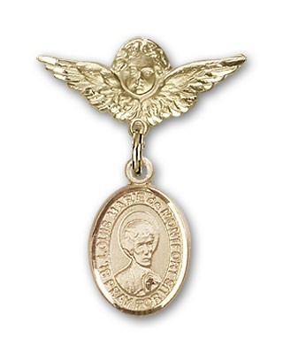 Pin Badge with St. Louis Marie de Montfort Charm and Angel with Smaller Wings Badge Pin - 14K Solid Gold