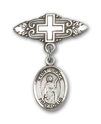 Pin Badge with St. Grace Charm and Badge Pin with Cross - Silver tone