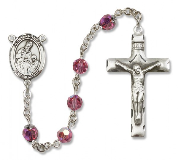 St. Ambrose Rosary Heirloom Squared Crucifix - Rose