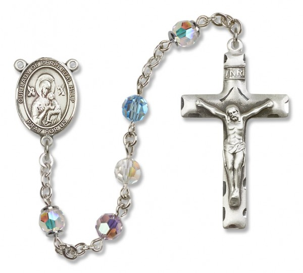 Our Lady of Perpetual Help Sterling Silver Heirloom Rosary Squared Crucifix - Multi-Color