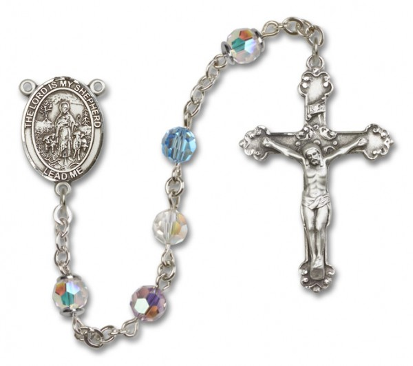 Lord Is My Shepherd Sterling Silver Heirloom Rosary Fancy Crucifix - Multi-Color