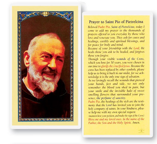 Prayer To St. Pio Laminated Prayer Cards 25 Pack - Full Color