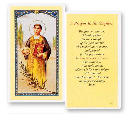Prayer To St. Stephen Laminated Prayer Cards 25 Pack - Full Color