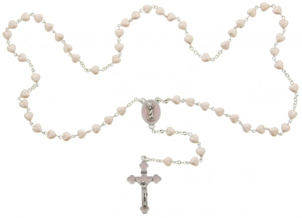 Heart Shaped Pink Glass Bead Baby Rosary - Pink