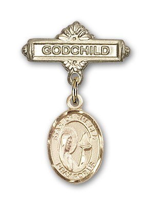 Baby Badge with Our Lady Star of the Sea Charm and Godchild Badge Pin - Gold Tone